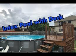intex above ground pool decks.  Ground INTEX Pool With Deck Setup Intended Intex Above Ground Decks O