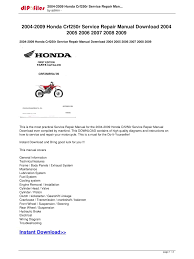 2004 2009 honda crf250r service repair manual 2004 2005 2 2004 2009 honda crf250r service repair man by admin service repair manual are instant saving you money on postage and packaging