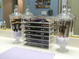 brush holder out of a clear gl cup some glitter middot makeup cosmetic storage