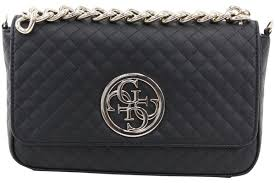 guess women s g lux quilted man made leather flap over cross handbag fashion accessories