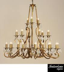 interiors 1900 oksana 21 light chandelier antique brass crystal ul1p21b
