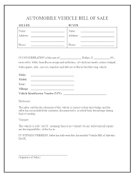 Vehicle Bill Of Sale Templates Online Bill Of Sale Template