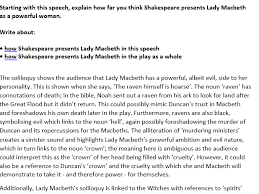 macbeth exam sample response aqa english literature new spec  macbeth exam sample response aqa english literature new 1 9 spec by mgroverresources teaching resources tes