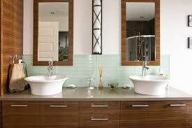 glass-tile-backsplash-pictures-Bathroom -Contemporary-with-dark-wood-cabinets-double-sink-grey-countertop