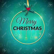 Merry Christmas Green Holiday Background Xmas Greeting Card