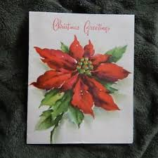 Poinsettia Card Details About Vintage Christmas Card Pollyanna Line 2 5x324 Watercolor Deep Red Poinsettia