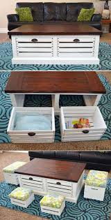 Storage & Organization: Diy Wood Storage Coffee Table And Stools - Wood  Crate