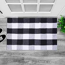 lhtrade cotton rug buffalo checd plaid area rug bath runner door mat for entry way washable