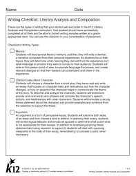 Writing A Literary Analysis Writing Checklist Literary Analysis And Composition