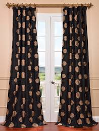 zen garden black embroidered faux silk curtains and ds