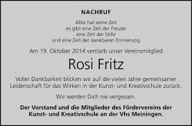 Traueranzeigen von Rosemarie Fritz | franken-gedenkt.de