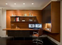 Home office lights Oversized Home Office Designed With Open Shelves And Mounted Desk Also Using Ceiling Lights With Under Counter Lights Wearefound Home Design Home Office Designed With Open Shelves And Mounted Desk Also Using
