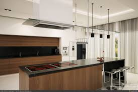 Modern Apartment Kitchen Designs Brown Island Also Black Granite Countertop Also Cabinetry In