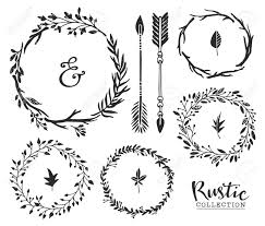 page rustic elements. Hand Drawn Vintage Ampersand, Arrows And Wreaths. Rustic Decorative Vector Design Set. Stock Page Elements