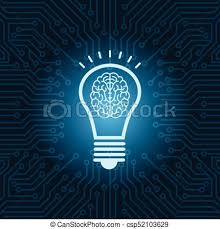 vector square blue icon lighting bulb. Light Bulb With Brain Inside Icon Over Blue Circuit Motherboard Background - Csp52103629 Vector Square Lighting I