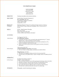 Student Internship Resume Sample Resume Work Template