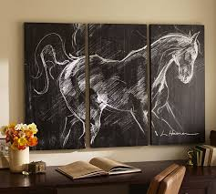 on wall art pictures of horses with planked horse triptych pottery barn