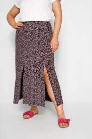 Details About Yours Clothing Womens Plus Size Black Pink Ditsy Floral Maxi Skirt