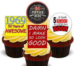 50th Birthday Male 1969 Vintage Edible Cupcake Toppers Stand Up