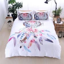 watercolor bedding home textile dream catcher feathers watercolor bedding set duvet cover king queen size bohemian