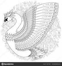 Disegni Da Stampare Cigno Cigno Decorato A Mano Disegnato