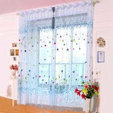 Bunte Herz Fenster Vorhang Tür Balkon Decoracion Voile Sheer