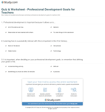 what are your professional goals quiz worksheet professional development goals for teachers