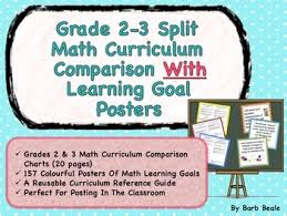 300 Chart Math Gr 2 3 Split Math Curriculum Comparison And Learning Goal Posters 300 Pages
