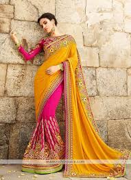 Half Half Designer Saree Sonorous Georgette Pink With Yellow Embroidery Work