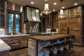interior appealing rustic kitchens design ideas with pendant lighting and wood kitchen island plus stools also range hood glass window about williamgeis