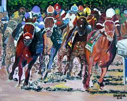 horse racing cky derby nyquist original art painting dan byl huge 4ft x 5ft impressionism