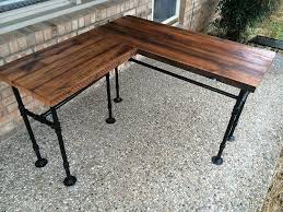 com rustic reclaimed barn wood l desk table solid oak w 28 black iron pipe legs handmade