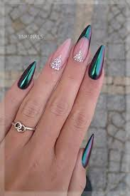 Pointy Nails Designs With Diamonds Pin By Marisa Nicole On Nail Design Chrome Nails Diamond