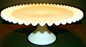 details about vintage fenton pedestal cake stand hobnail milk glass ruffled crimped edge 12