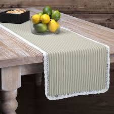 kendra green stripe table runner