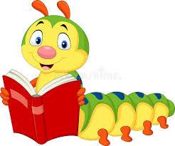 cartoon caterpillar reading book stock vector ilration of small larvae 98485786