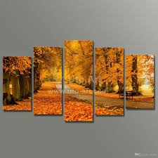 best modern modular paintings on canvas 5 panel wall art painting of yellow tree avenue digital painting custom canvas prints home under 15 97 dhgate com
