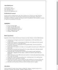 Excel Resume Examples Professional Excel Vba Developer Templates To Showcase Your