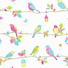 Pretty Birds Hoopla Wallpaper Blue, White (DL30702)