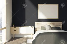 Wooden Double Bed With Drawer Designs Black Bedroom Interior With A Gray Cover A Double Bed A Wooden