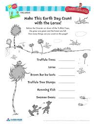 Earth Day With The Lorax-Dr. Seuss Activity Worksheet for ...