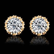 Hot Sale Gold Color Crystal Stud Earrings For Women Men <b>Crown</b> ...