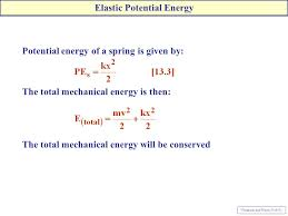 7 potential energy of a spring is given by the total mechanical energy is then the total mechanical energy will be conserved elastic potential energy