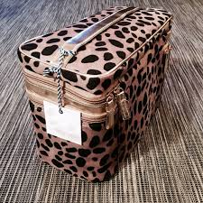 tartan twine cheetah print zipping makeup case