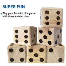 Wooden Yard Games Large Dice Game Giant Wooden Yard Dice Set With Bag EasyGo Products 52