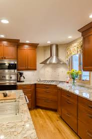 Corner Cooktop Designs Shaker Cabinetry Stained Cherry Shaker Cabinetry Granite