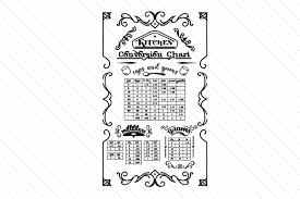 I thought this would look great with gold foil on a black tote. Kitchen Conversion Chart Svg Cut File By Creative Fabrica Crafts Creative Fabrica
