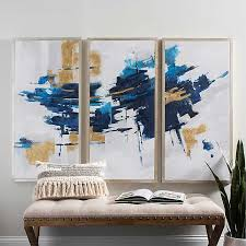 Navy and <b>Gold Abstract</b> Canvas Art Prints, Set of 3 | Kirklands