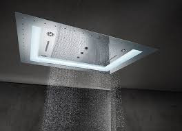 Corner Neo Angle Shower Stall Installed In The Bathroom With Recessed Ceiling Rain Shower Head
