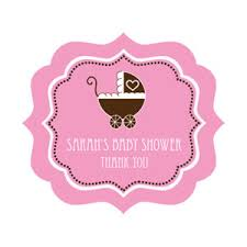 Pink Baby Shower Frame Personalized Labels  Baby Shower Baby Shower Tags And Labels